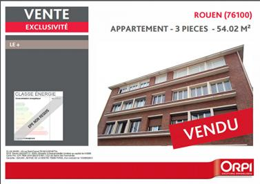 Appartement Rouen &bull; <span class='offer-area-number'>54</span> m² environ &bull; <span class='offer-rooms-number'>3</span> pièces