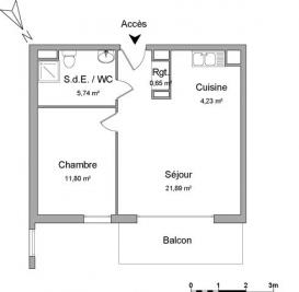 Appartement Le Petit Quevilly &bull; <span class='offer-area-number'>44</span> m² environ &bull; <span class='offer-rooms-number'>2</span> pièces