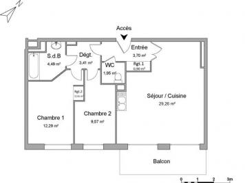 Appartement Darnetal &bull; <span class='offer-area-number'>66</span> m² environ &bull; <span class='offer-rooms-number'>3</span> pièces