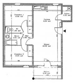 Appartement Dax &bull; <span class='offer-area-number'>62</span> m² environ &bull; <span class='offer-rooms-number'>3</span> pièces