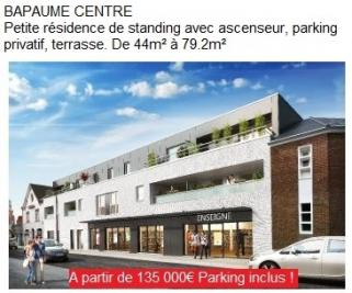 Vente appartement Bapaume • <span class='offer-area-number'>76</span> m² environ • <span class='offer-rooms-number'>2</span> pièces